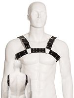 Black Leather Bull Dog Harness
