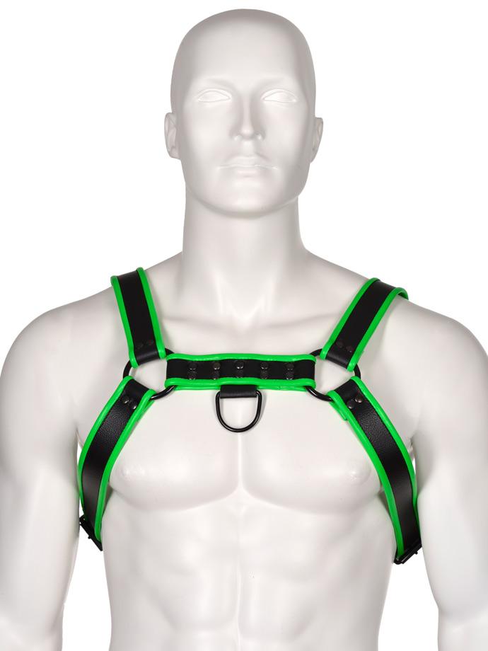 Club Leather Harness - Black/Green