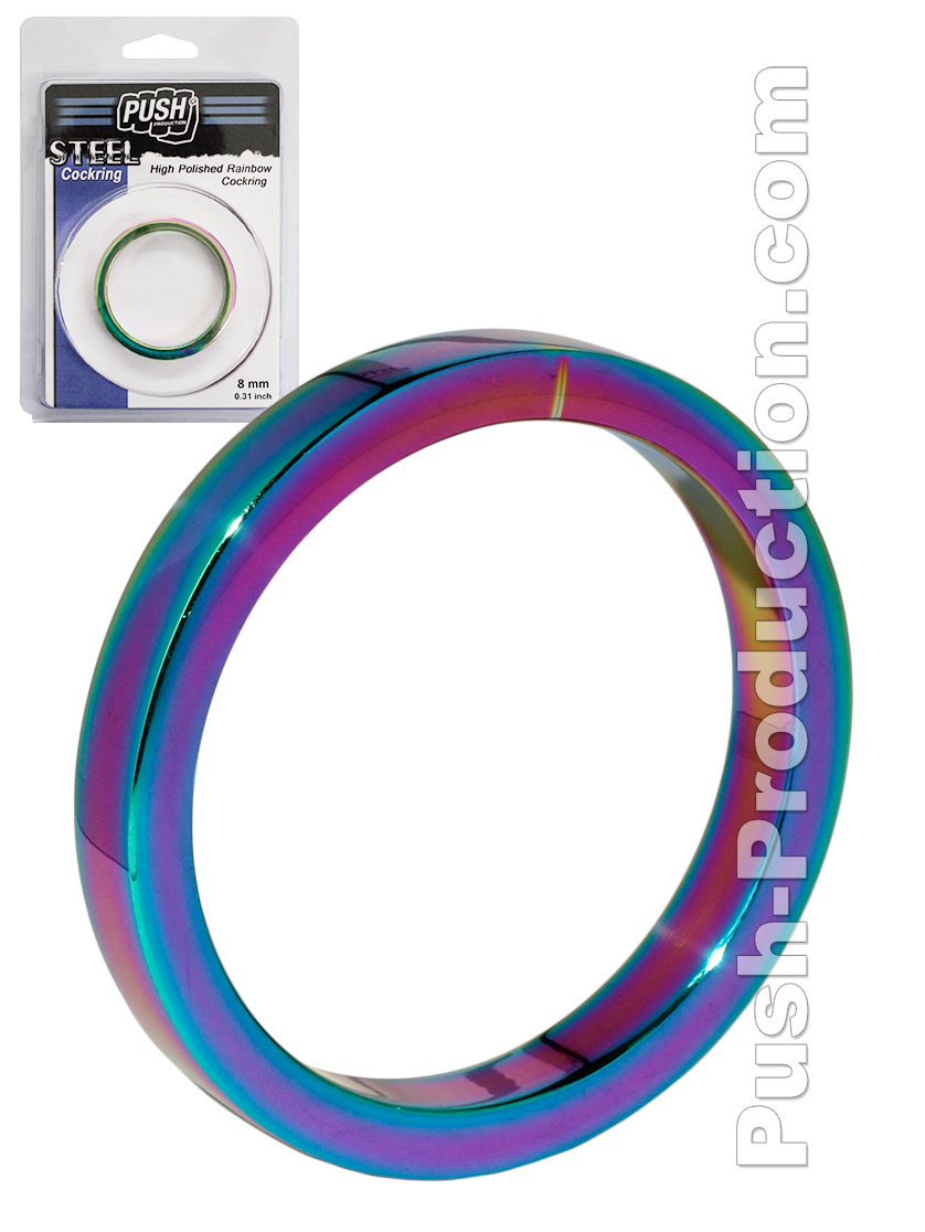 Push Steel - High Polished Rainbow Cockring - 8mm