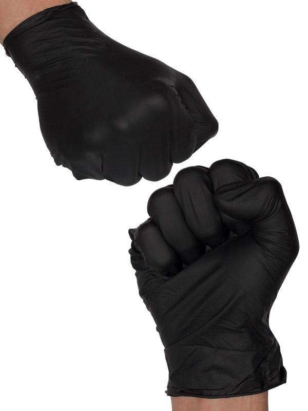 10 x Black Latex Gloves