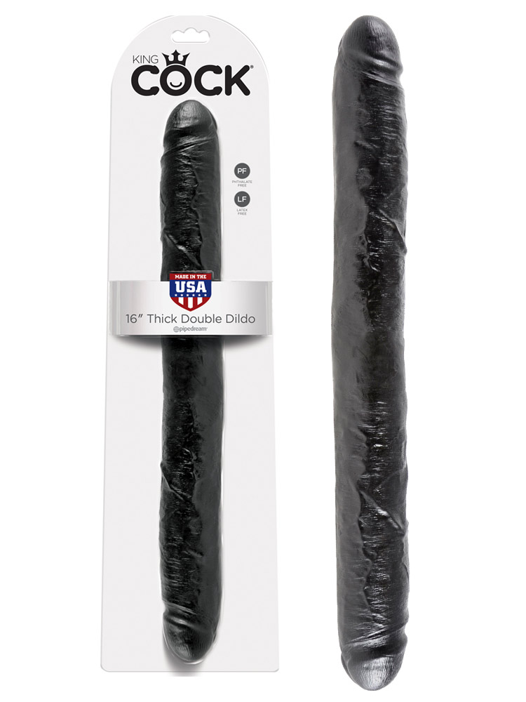 King Cock - 16 inch Thick Double Dildo Black