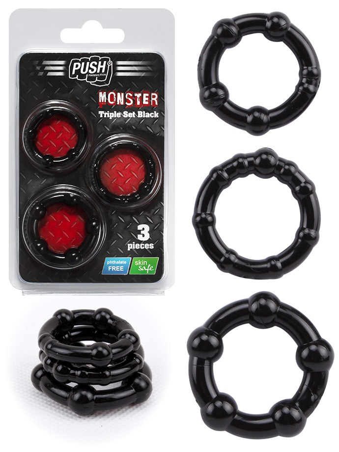 Push Monster Cockring - Triple Set Black