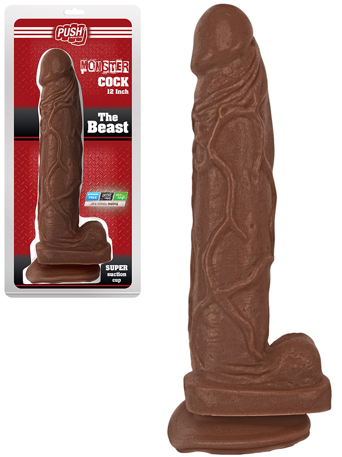 Push Monster Cock - The Beast 12 inch Brown