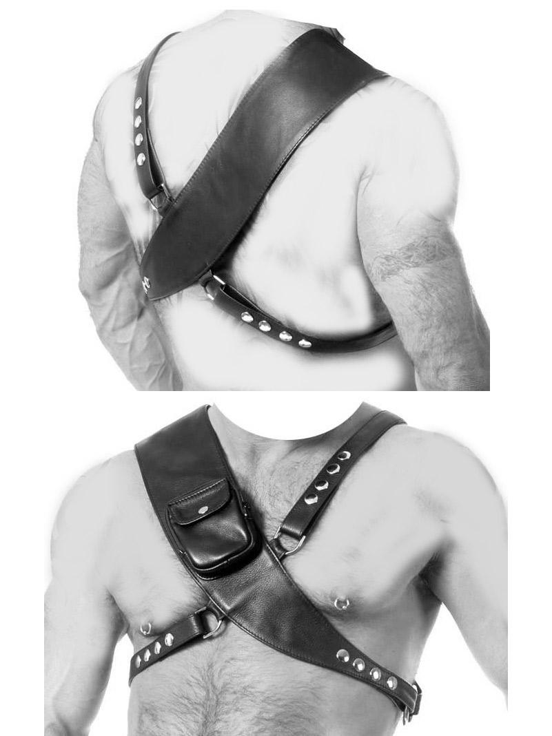 Leder Body Harness mit Tasche