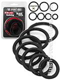 Push Monster - Black Rubber Cockring 7 Ring Set